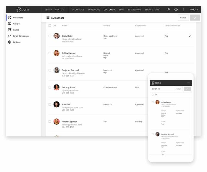 A view of Mono Customers shows how you can manage all of your contacts in one place.