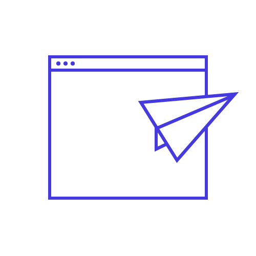 A graphic of a paper airplane displayed over a website.
