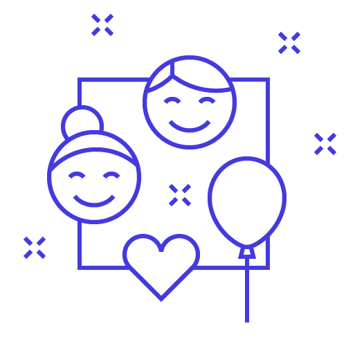 A graphic of smiling faces, a heart and a balloon.