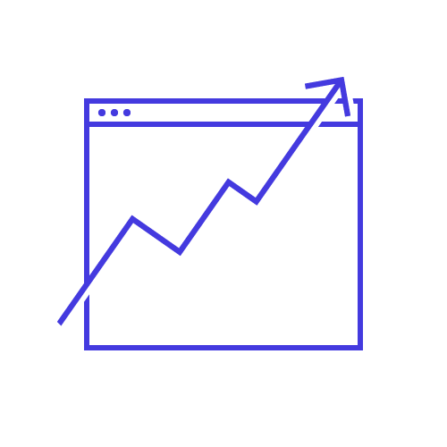 A line graph displayed an arrow going up to show an increase in ROI.