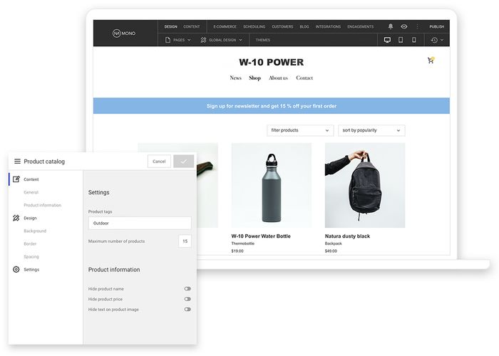 An example of a Mono E-commerce website built on the Mono Platform.